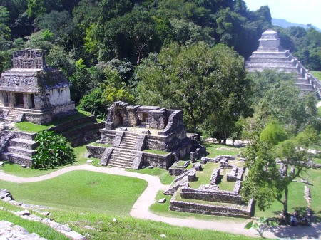 Palenque ruins from the Temple of the Cross